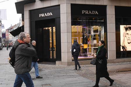 CopenhagenDenmark. 14 .Febuary 2019._Prada store on sroeget on kobmagergade and ostergade in danish capital Copenhagen Denmark.. Editorial