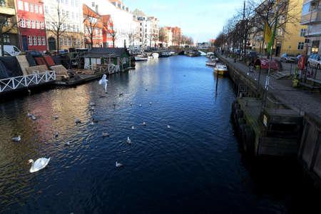 CopenhagenDenmark. 20.FEBUARY 2019. Lif at Chritianshavn canal on Christianshavn torv amager island  in heart of danishb capital. Editöryel