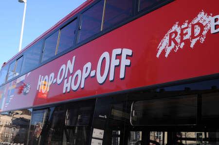 CopenhagenDenmark. 24.FEBUARY 2019. Hop-on hop -of rec line cruise bus in danish capital Copenhagen Denmark. Editorial