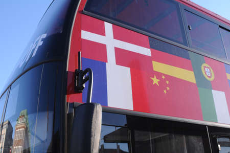 CopenhagenDenmark. 24.FEBUARY 2019. Hop-on hop -of rec line cruise bus in danish capital Copenhagen Denmark Editorial