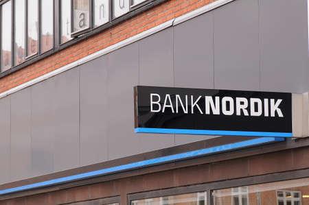 4ac3def4561 CopenhagenDenmark. 26.FEBUARY 2019. Banknordik branch on amagerbrogade in  danish capital Copenhagen Denmark