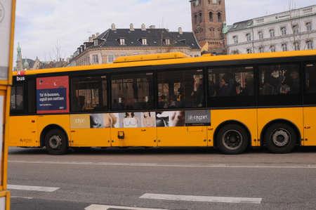 CopenhagenDenmark. 26.FEBUARY 2019. _New breasts commercial on danish public bus ak.nygart  on danish road.
