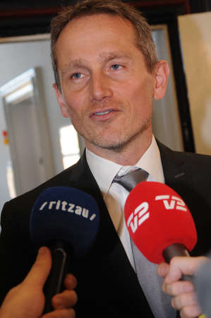 CopenhagenDenmark. 27.FEBUARY 2019. Kristian Jensen  danish minister for fiance compnay with other ministers talking to press media danish halth reform  meeting with other two parties in Ministry for finance.