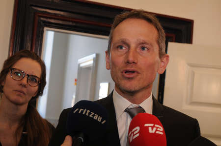 Copenhagen/Denmark. 27.FEBUARY 2019. Kristian Jensen  danish minister for fiance compnay with other ministers talking to press media danish halth reform  meeting with other two parties in Ministry for finance.