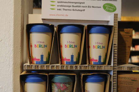 Berlin Germany . 05 March 2019.I Bamboo cups for sale sing read I love Berlin for visitor to take home disply for sale in Berlin Germany. Editorial