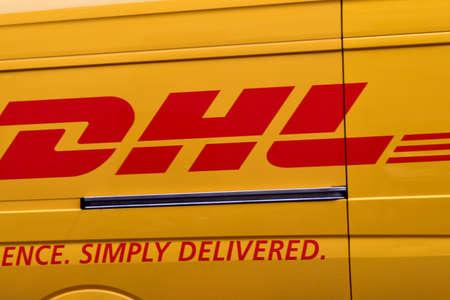 Copenhagen Denmark. 15.March 2019. _DHL delivery wagen in kobmagergade in danish capital Copenhagen Denmark. Editorial