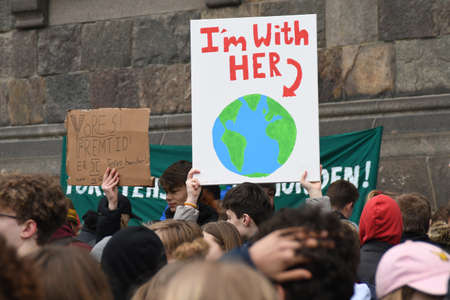 Copenhagen /Denmark./ 15.March 2019. _Largest climate changes protest rally in front danish parliament Chritiansborg  all school children danishc apital Copenhagen join climate change proets rally in danish capitl Copenhagen Denmrk. Editorial