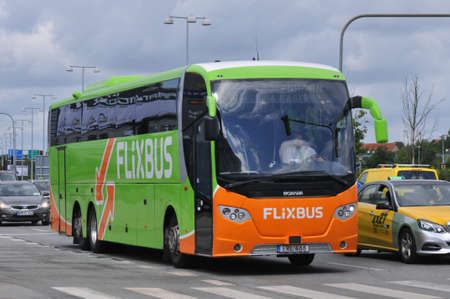 Copenhagen Denmark. 01July  2019Flixbus on road at Copenhagen airport ind danish capital Copenhagen Denmark . Editorial