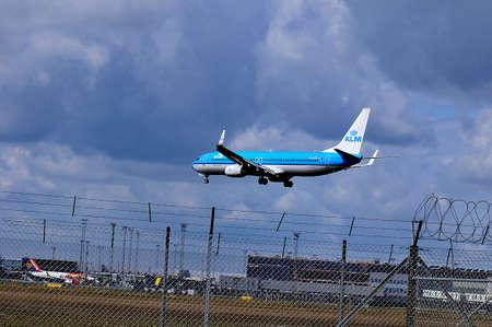 Copenhagen Denmark. 01July  2019 KLM  royal dutch airlien  make ladning in Copenhagen Interntional airlines in Kastrup Denmark. Editorial