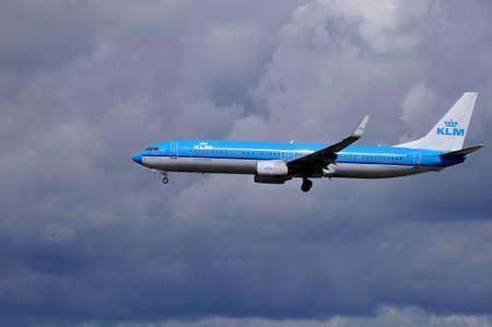 Copenhagen Denmark. 01July  2019 KLM  royal dutch airlien  make ladning in Copenhagen Interntional airlines in Kastrup Denmark..