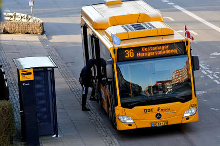 Public transport route bus stransport works fine during covid-19 crisis in Denmark,  Copenhagen Denmark.   /23 .March 2020 / Editorial