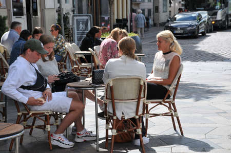 23 July.2020/Travelers and shoppers enjoy sun shine day  ejoy food and  drinks at out door cafes and restauranst on Hojbro plads  in danish capital during coronavirus/ covi-19       Copenhagen Denmark /
