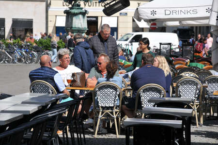 23 July.2020/Travelers and shoppers enjoy sun shine day  ejoy food and  drinks at out door cafes and restauranst on Hojbro plads  in danish capital during coronavirus/ covi-19       Copenhagen Denmark.