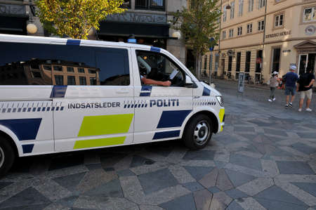 Copenhagen, Denmark, 18 August 2020, Danish police van patrol  for security reason on strieget danish financial dist in danish capital. Editorial