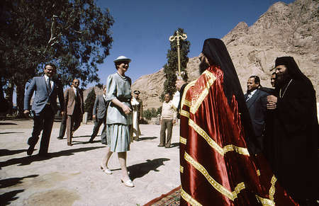Catherine Monastry / Sanai/ Egypt., Denmarks Queen Margrethe II of Denmark and Her husband Prine Henrik  (Henri)  of Denmark visitSaint  Catherine monastery in mount Sinai  royal couple welcomed by the monks and archibishop  (unknown name) in Febraury 198