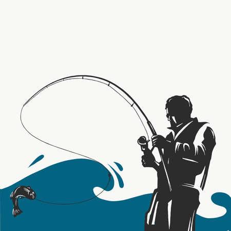 Étiquette de pêche avec un brochet et un pêcheur dans un bateau.Tous les éléments sont modifiables.