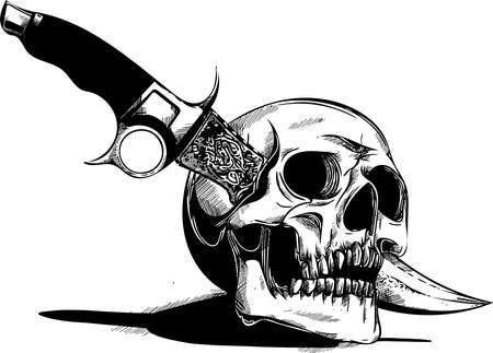 a vector human Skull with a knife Stockfoto - 110703087