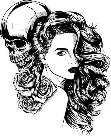 Girl with skeleton make up hand drawn vector sketch. Santa muerte woman witch portrait stock illustration Day of the dead face art Banque d'images - 110703095