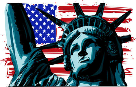 the american Liberty Statue Icon vector Illustration 일러스트