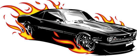 vector muscle car with flames Crazy race 写真素材 - 110703246