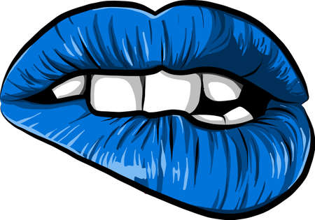 sexy woman cartoon mounth with blue lips Stock Photo