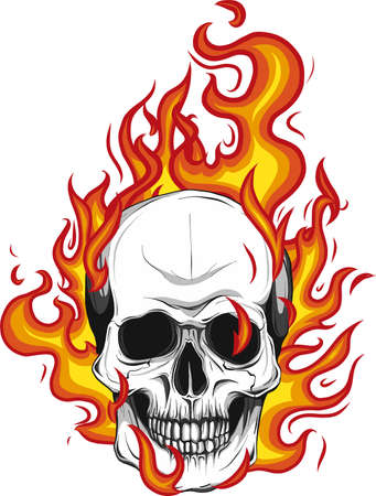 Skull on Fire with Flames Vector Illustration Stock fotó - 110703256