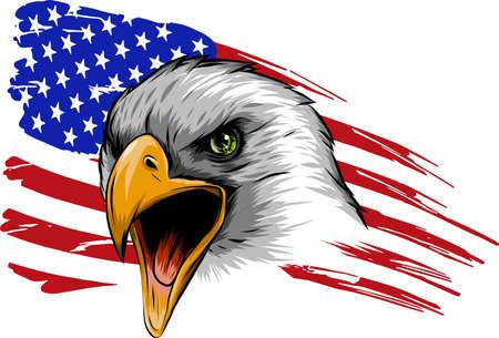 illustration vectorielle Aigle américain contre drapeau USA et fond blanc.
