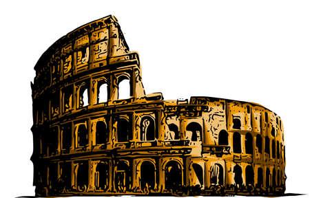 Vektor-illustration Kolosseum. Italien Sehenswürdigkeiten Kunst Baugeschichte