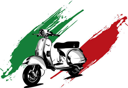 Vector illustration of an Italian scooter with flag