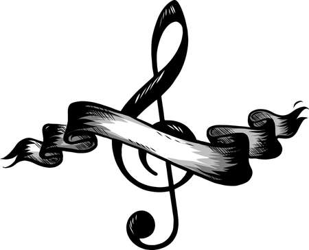 Music notes, song, melody or tune flat  icon for musical apps and websites Stock Photo