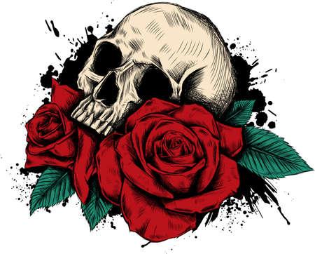 Crâne avec des fleurs, avec des roses. Dessin à la main. . Illustration