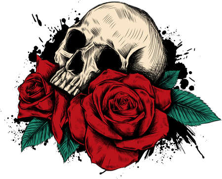 Skull with flowers, with roses. Drawing by hand. . Illustration