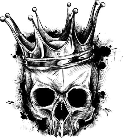 Illustration of black and white skull in crown with beard isolated on white background