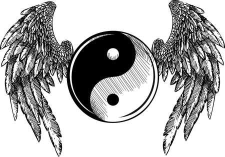 vector illustration Religion, Ying, Yang, Tao, Zen, Culture