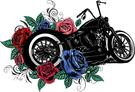 vintage chopper motorcycle with roses
