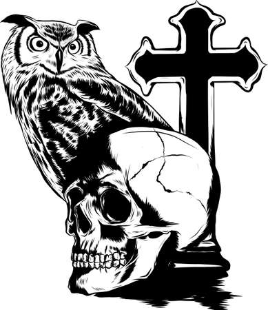 Elaborate drawing of Owl holding skull
