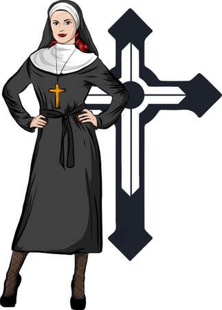 vector illustration of a nun whit white background Vetores
