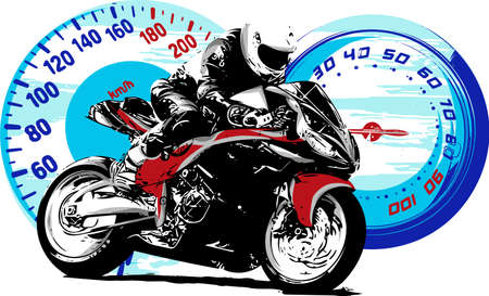 Motorbike rider, abstract vector silhouette. Road motorcycle racing with struments