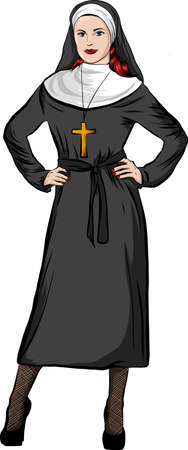 vector illustration of a nun whit white background