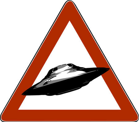 vector illustration danger road signs UFO, icon