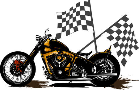 vector illustration Vintage Chopper Motorcycle Poster with race flag