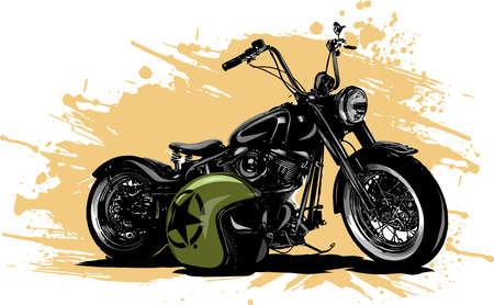 vector illustration Vintage Chopper Motorcycle Poster with helme Vektorové ilustrace