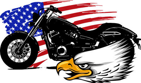 vector illustraton a motorcycle with the head eagle and american flag 免版税图像 - 110703637