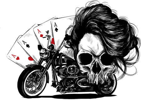 illustration Motorcycle woman skull with playing cards poker