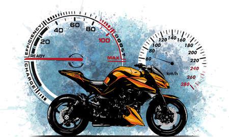 illustration Sport superbike motorcycle with struments Stock fotó