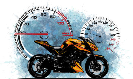illustration Sport superbike motorcycle with struments