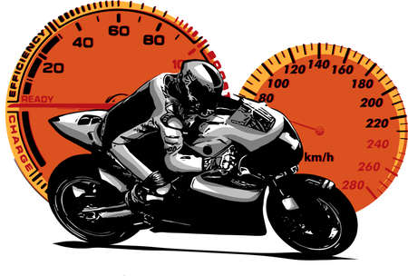 vector illustration Sport superbike motorcycle with struments Stock Photo