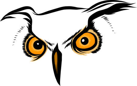 Vector brown silhouette of an owl on a white background. Standard-Bild - 110703715