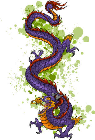 Chinese Dragon of power and wisdom flying cartoon illustration