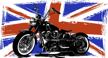 Custom Motorbike with great britain flag in background